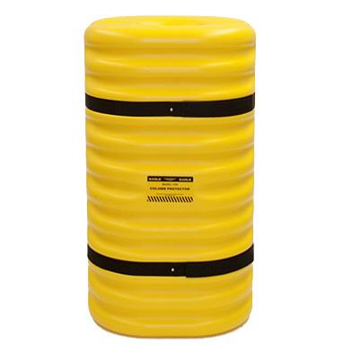 Kunststof kolombeschermer binnenw. 200x200 mm. Hoog 1070mm. geel