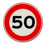 Verkeersbord met snelheidsaanduiding 50