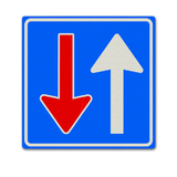 Verkeersbord F06 Voorrang op verkeer uit tegengestelde richt