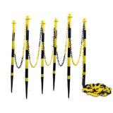 Kunststof kettingpalen geel-zwart met grondpin (set van 6 palen)