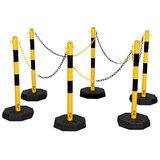 Verzinkte kettingpalen geel-zwart met zware voet -7kg.- (set van 6 palen)