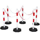 Verzinkte kettingpalen rood-wit met zware voet -7kg.- (set van 6 palen)