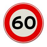 Verkeersbord met snelheidsaanduiding 60