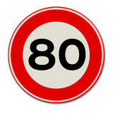 Verkeersbord met snelheidsaanduiding 80
