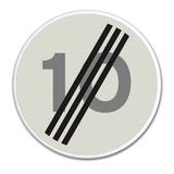 Verkeersbord A2 einde maximum snelheid 10 km/h