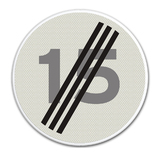 Verkeersbord A2 einde maximum snelheid 15 km/h