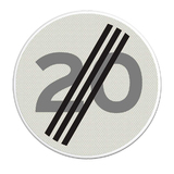 Verkeersbord A2 einde maximum snelheid 20 km/h