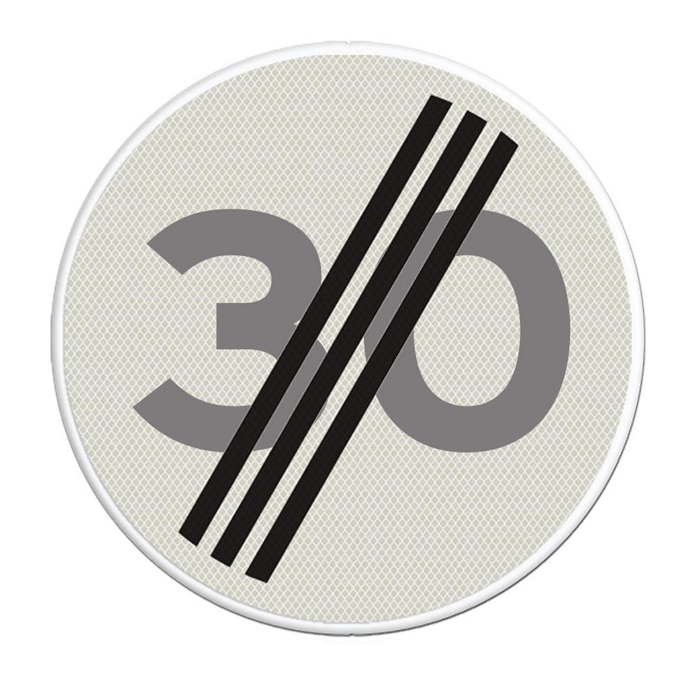 Verkeersbord A2 einde maximum snelheid 30 km/h