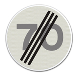 Verkeersbord A2 einde maximum snelheid 70 km/h