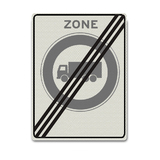 Verkeersbord C12-ZE Einde zone gesloten voor vrachtwagens