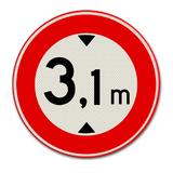 Verkeersbord C19 Gesloten voor voertuigen die met inbegrip van de lading, hoger zijn dan op het bord is aangegeven
