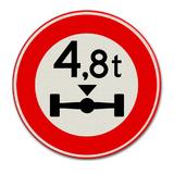 Verkeersbord C20 - Gesloten voor voertuigen waarvan de aslast hoger is dan op het bord is aangegeven