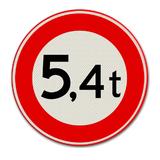 Verkeersbord C21 Gesloten voor voertuigen en samenstellen van voertuigen waarvan de totaalmassa hoger is dan op het bord is aangegeven