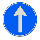 Verkeersbord D4 - Gebod tot het volgen van de rijrichting die op het bord is aangegeven