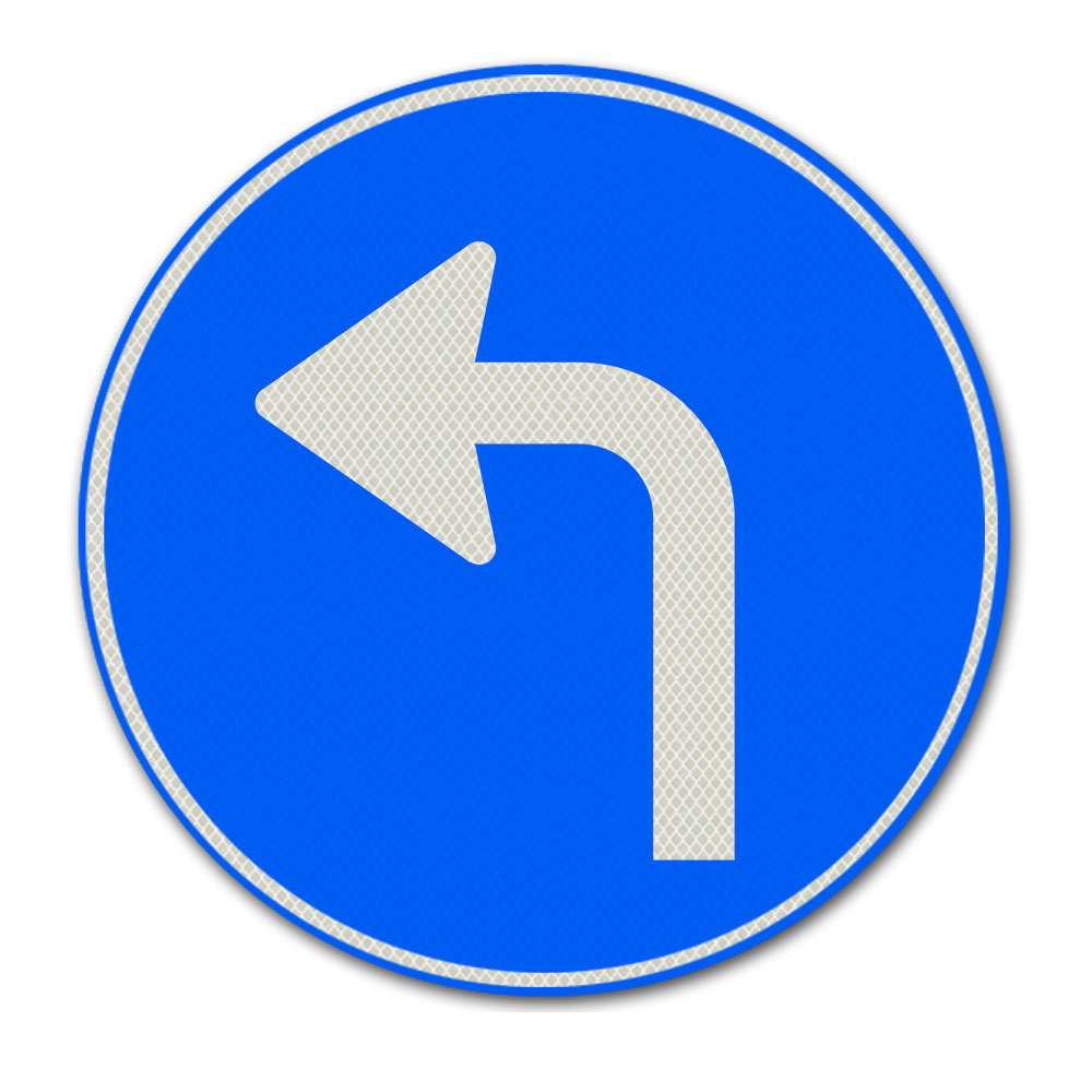 Verkeersbord D5L - Gebod tot het volgen van de rijrichting die op het bord is aangegeven