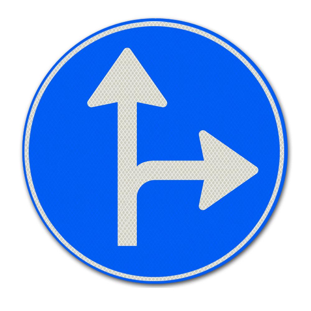 Verkeersbord D6R - Gebod tot het volgen van één van de rijrichtingen die op het bord zijn aangegeven