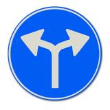 Verkeersbord D7 Gebod tot het volgen van één van de rijrichtingen die op het bord zijn aangegeven