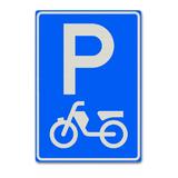 Verkeersbord E8- Parkeergelegenheid alleen bestemd voor bromfietsen en gehandicaptenvoertuigen
