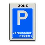 Verkeersbord E9ZB -Zone parkeergelegenheid alleen bestemd voor vergunninghouders