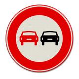 Verkeersbord F1 Verbod voor motorvoertuigen om elkaar onderling in te halen