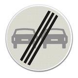 Verkeersbord F2 Einde verbod voor motorvoertuigen om elkaar onderling in te halen