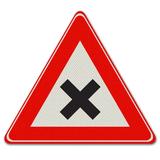 Verkeersbord J8 - Waarschuwing gevaarlijk kruispunt