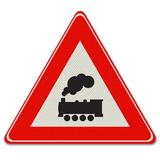 Verkeersbord J11 - Waarschuwing voor overweg zonder slagbomen