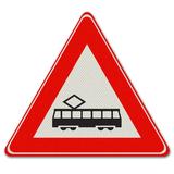 Verkeersbord J14 Waarschuwing voor tram (kruising)