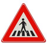 Verkeersbord J22 - Waarschuwing voor voetgangers oversteekplaats