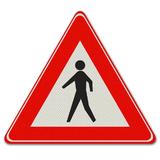 Verkeersbord J23 - Waarschuwing voor voetgangers
