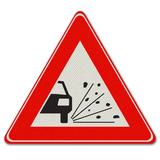 Verkeersbord J25 - Waarschuwing voor losliggende stenen