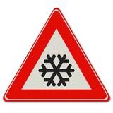 Verkeersbord J36 - Waarschuwing voor sneeuw of ijzel