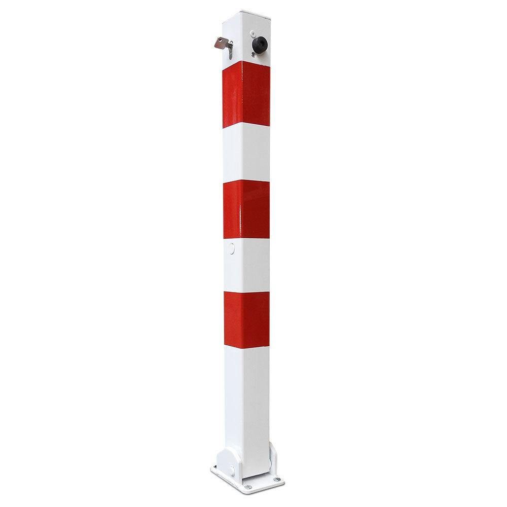 Afzetpaal neerklapbaar met cilinderslot rood/wit 70x70, hoog 900mm.