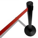 Zwart metalen afzetpaal met rood lint | 2.30meter