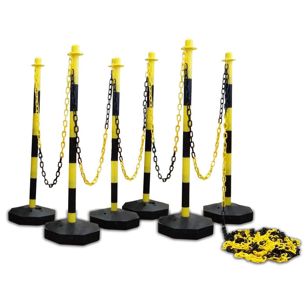 Kunststof kettingpalen geel-zwart met vulbare voet (set van 6 palen)
