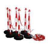 Kunststof kettingpalen rood-wit met vulbare voet (set van 6 palen)